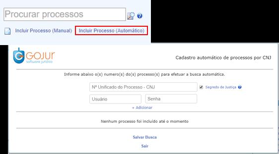 , Novidades GOJUR – Inclusão automática de processos por CNJ